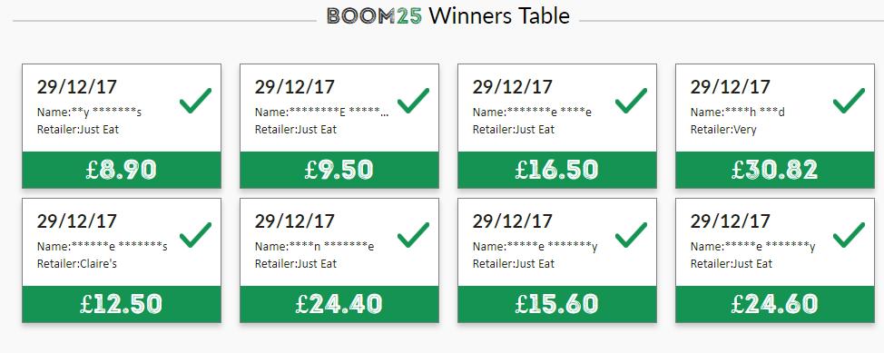 Boom25 Winners Table