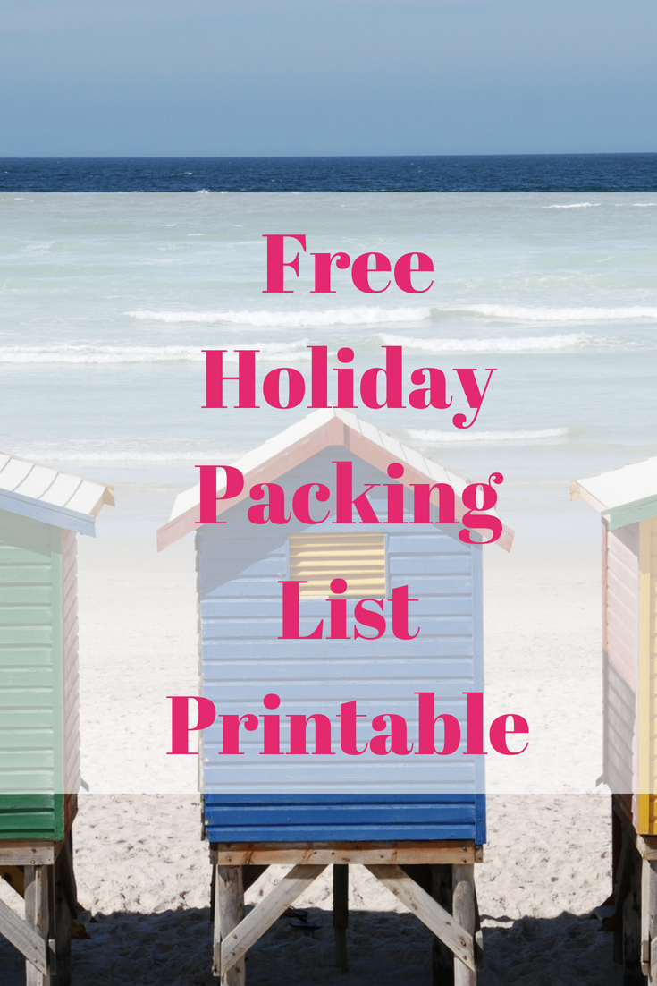 Free holiday packing list printable