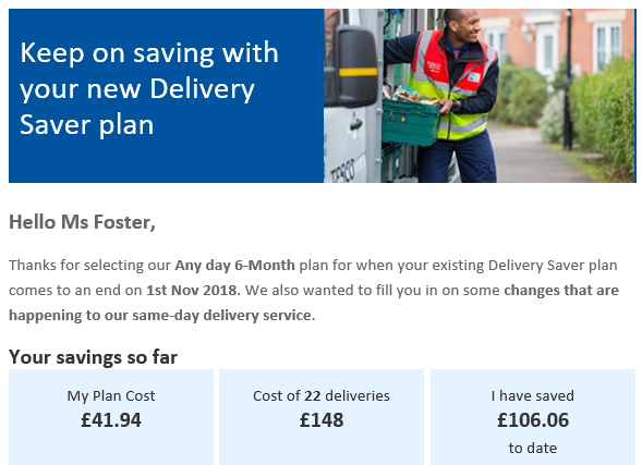 Tesco Delivery Saver Savings
