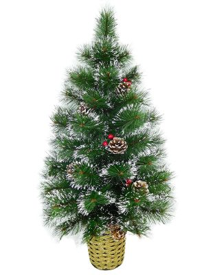 Christmas Concepts® 90cm Decorated Frosted Wall Tree With Natural Cones & Berries - Wall Christmas Tree