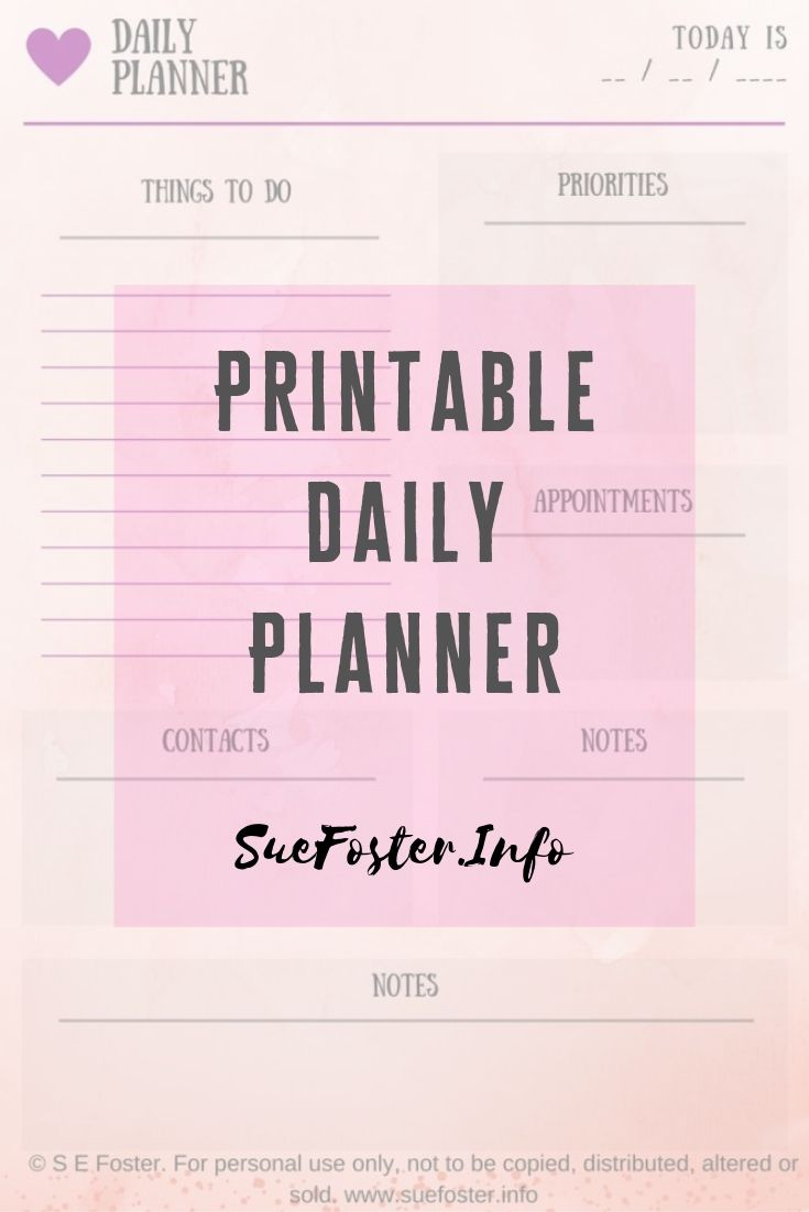A handy printable daily planner, free to download and print off.