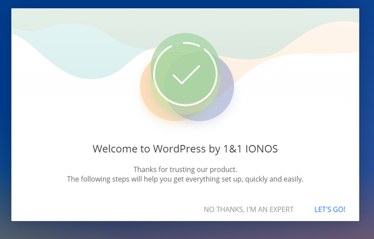 Ionos welcome page