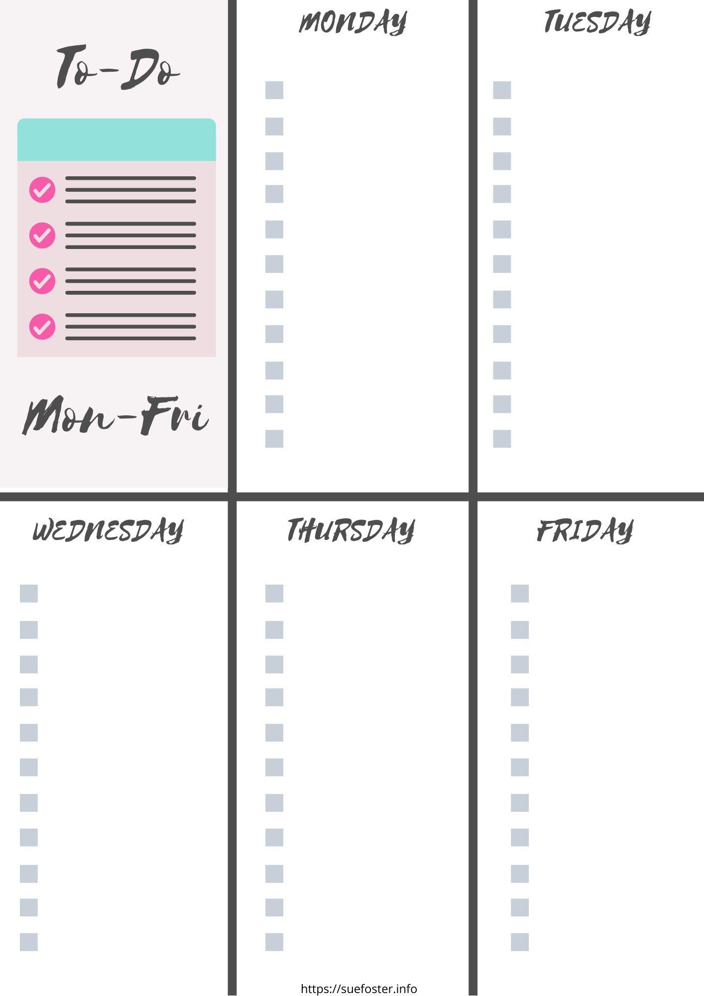 Printable To-Do List, Mon-Fri.