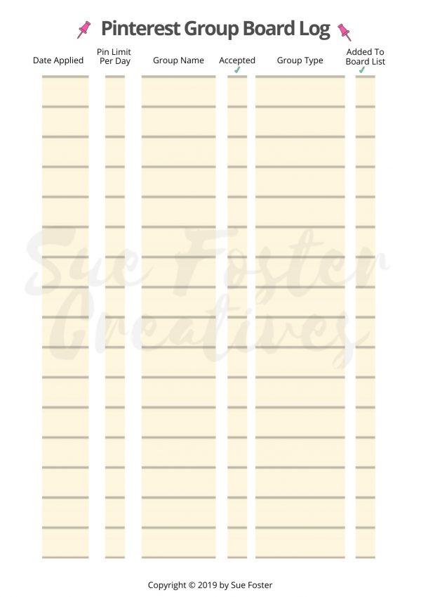 Pinterest Group Board Log