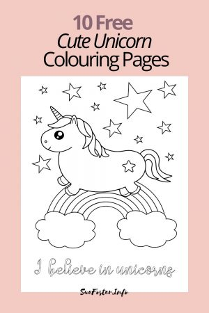 10 free cute unicorn colouring pages for kids, instant download pdf
