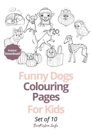 Funny Dogs Colouring Pages For Kids 10 page pdf