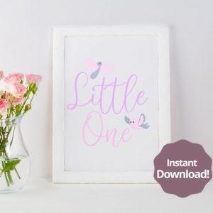 Little One Baby Girl Digital Download Printable Digital Art