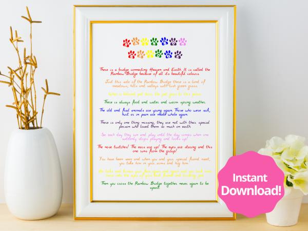 Rainbow Bridge Printable Instant Download Wall Art