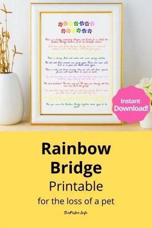 Rainbow Bridge Printable for the loss of a Pet