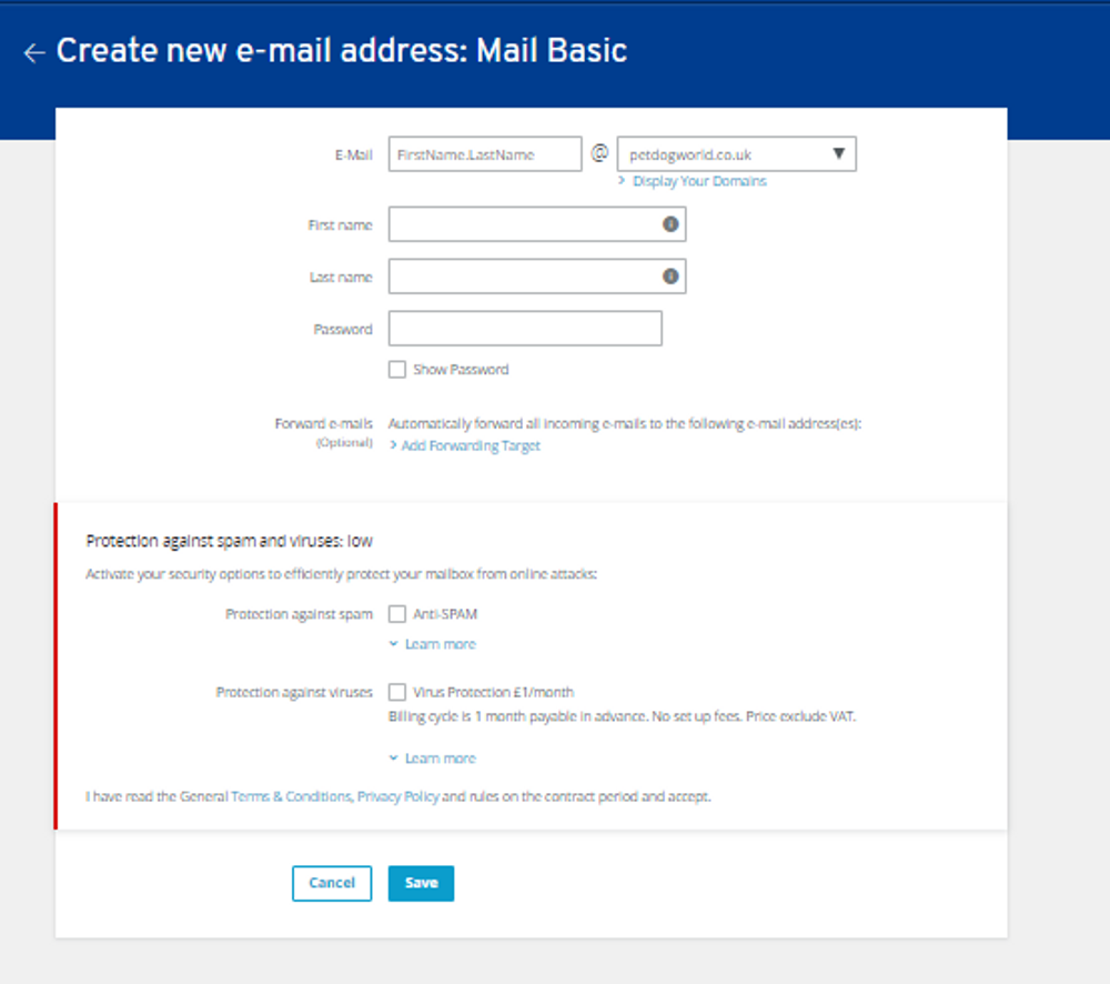 Image of form to fill when creating an email address