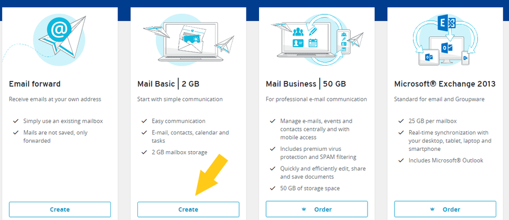 Image of email plans