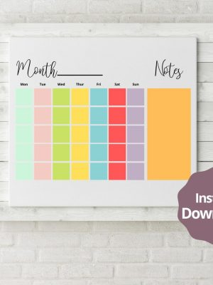 Colourful any month calendar