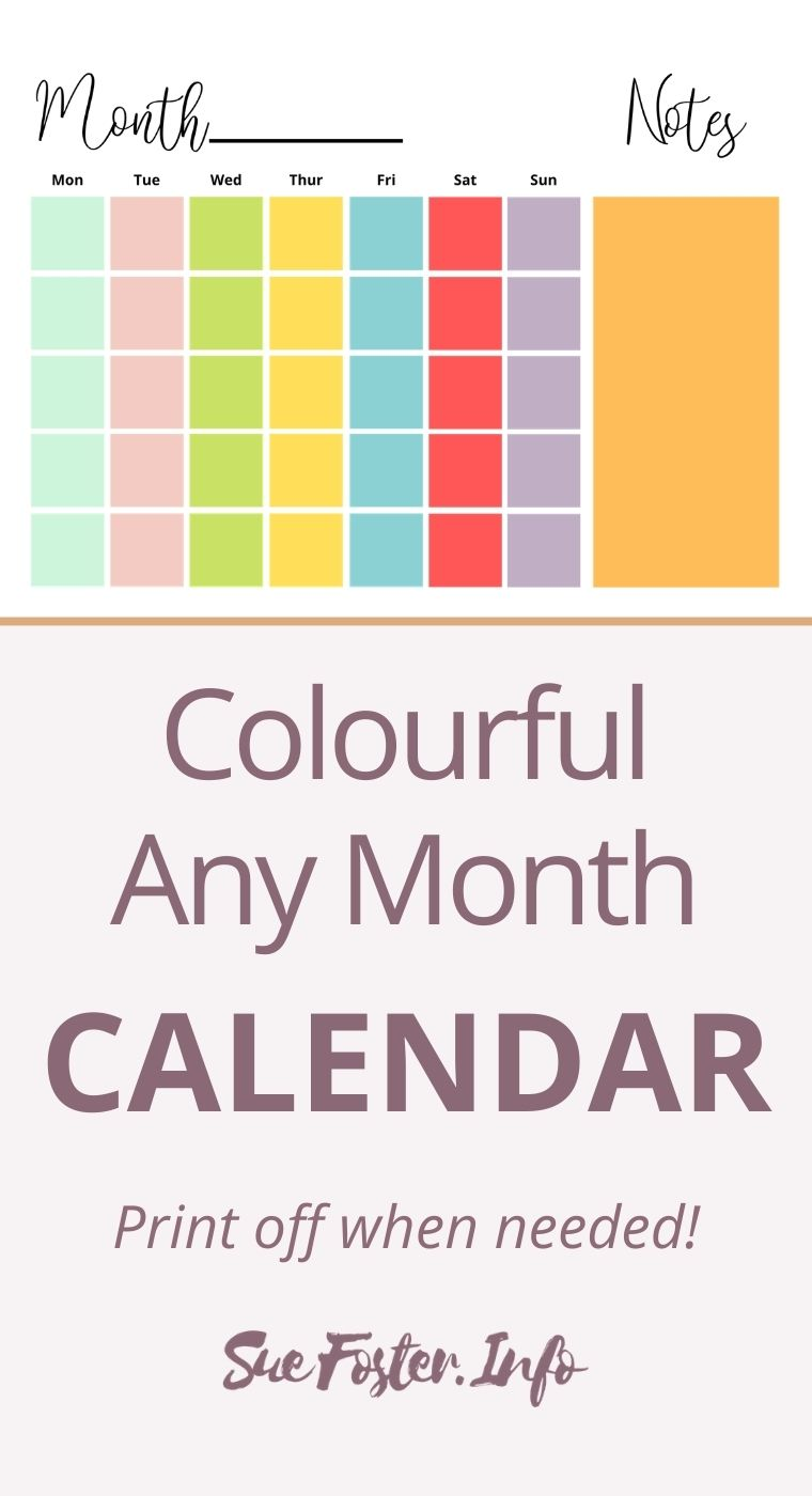 Colourful any month calendar, print off when needed. Instant download