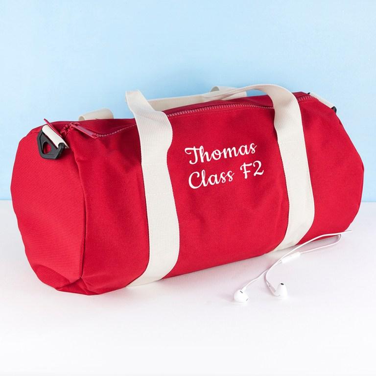 Personalised sports bag.