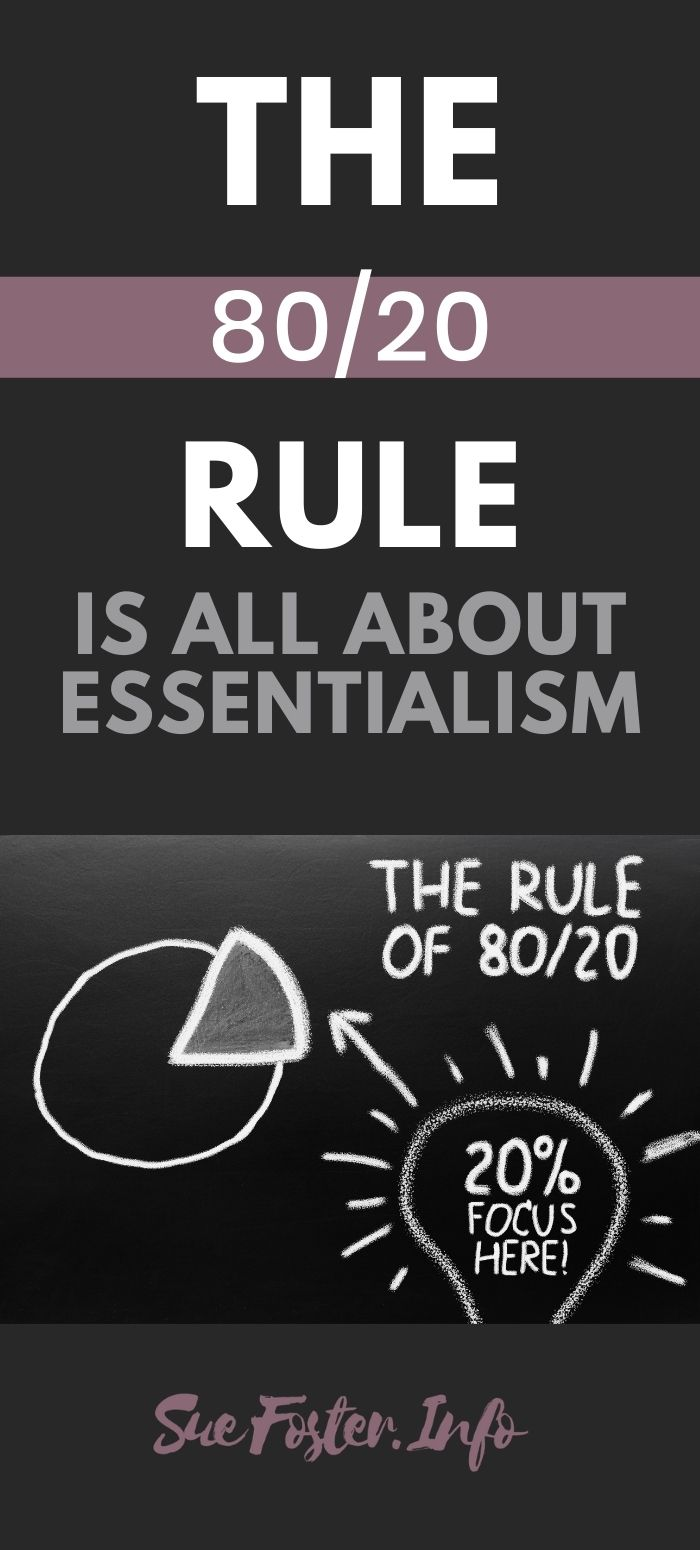 The 80/20 rule is also called the Pareto principle. You may know it better as the 80/20 rule. The idea behind it is that 80% of your results will be achieved by 20% of your work.