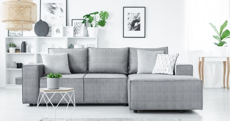 Large grey sofa in living room