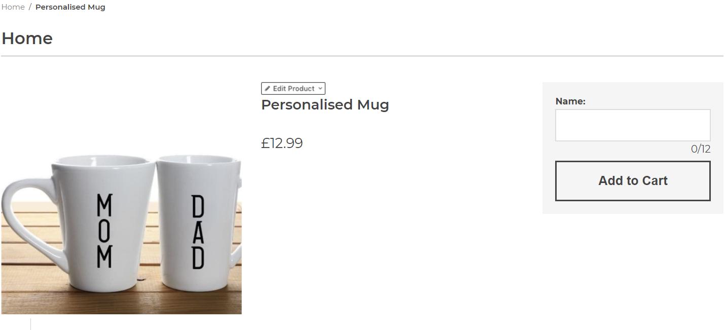 Image of text box for personalised mug