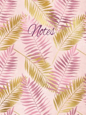 A feminine notebook with purple and gold tropical leaves on a pink background featured on the cover. Great for taking notes. Makes an ideal gift for mum, gran, aunt or friend.