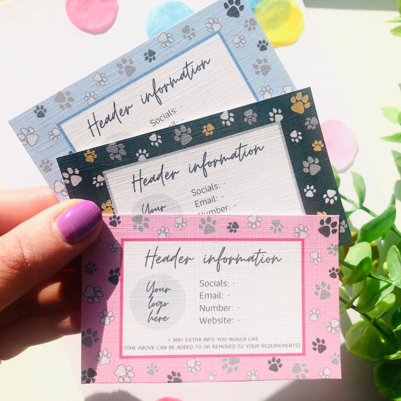 paw print business cards