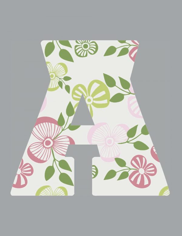 Initial A Notebook Floral Letter on Grey Background