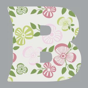 Monogram Initial B Notebook for Women and Girls, Floral Letter on Grey Background 8.5 x 11 inches.