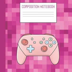 Pink gaming composition notebook for taking gaming notes.