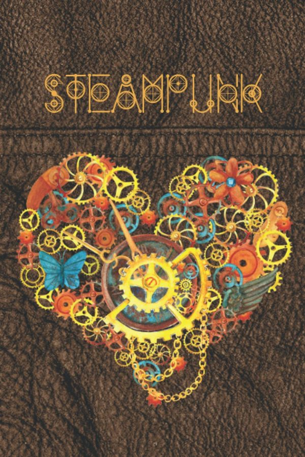 Steampunk notebook with a mechanical heart
