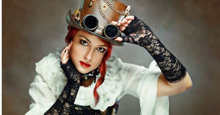 Woman dressed in Steampunk fashion clothing