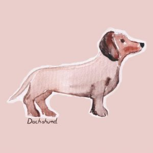 A cute dachshund notebook/journal featuring a wiener dog on the cover. Contains 100 pages with a dachshund on each of the interior pages.