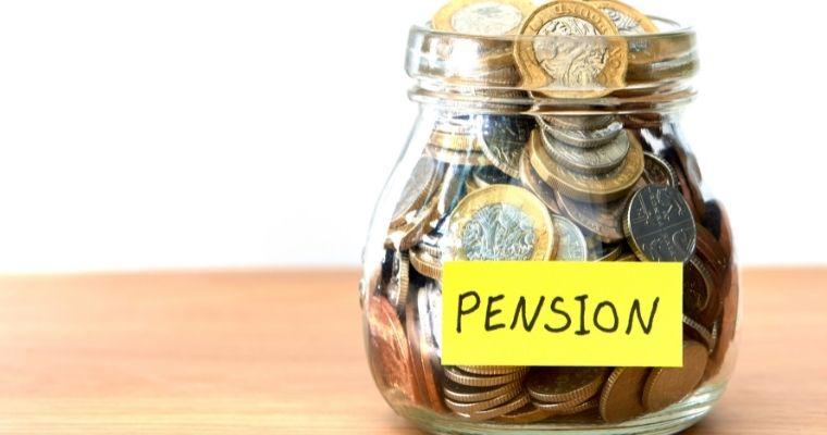 Jar full of money labelled pension