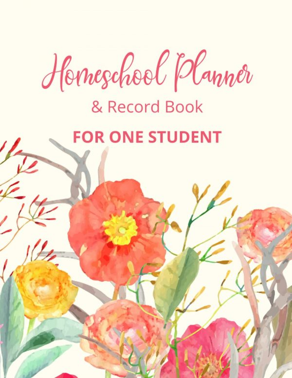 Light Floral Homeschool Planner and Record Book For one Student
