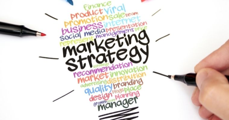 Marketing strategy quotes written in the shape of a light bulb