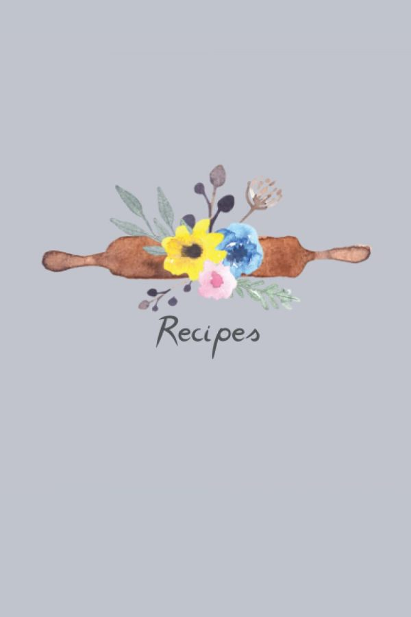 Recipe notebook floral rolling pin design