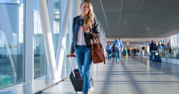 Picture of a woman at an airport terminal