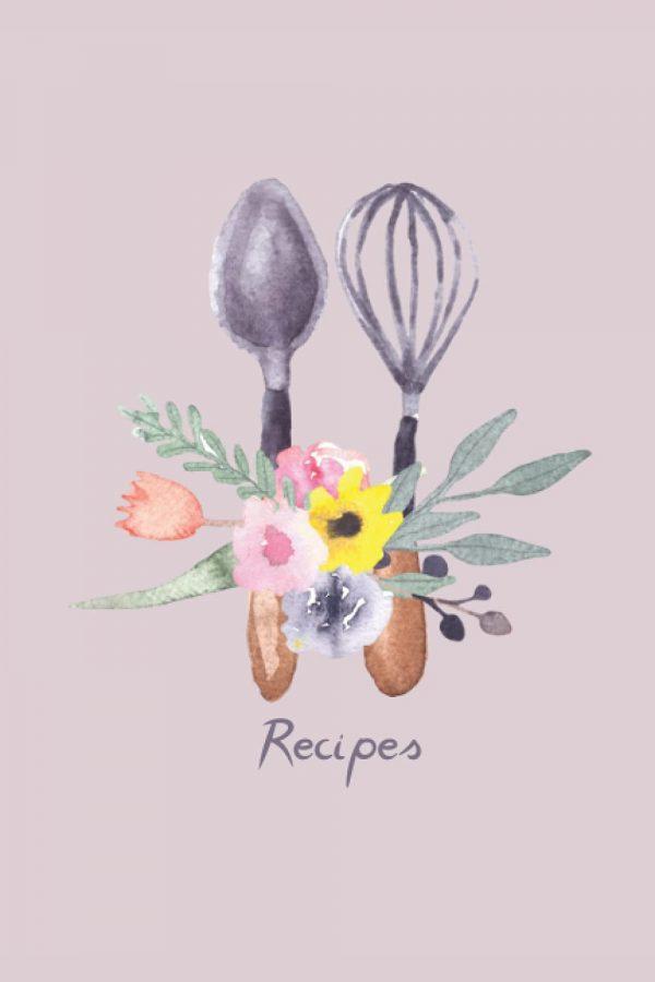 recipe notebook floral kitchen utensils design