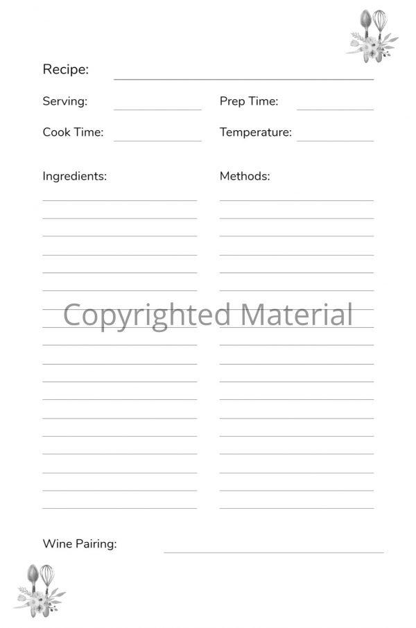 utensils recipe notebook interior